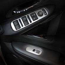 Fit For Honda HRV HR-V VEZEL 2015 2016 2017 Chrome Arm Rest Window Switch Panel Cover Trim Frame Bezel Styling Garnish Molding
