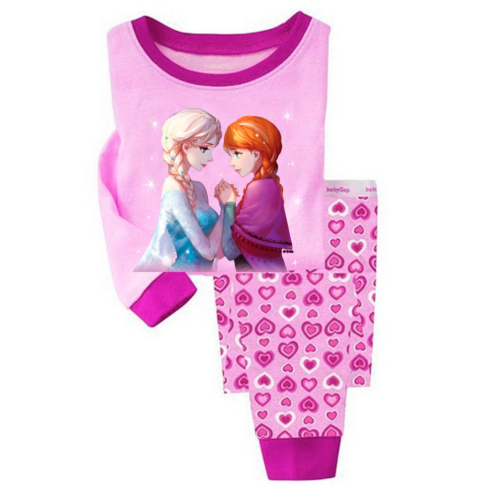 Girls   Pajamas   Long Sleeve Children   Set   Clothing Disney Minnie Frozen Princess Cartoon Cute Pattern Autumn Sleepwear Clothes