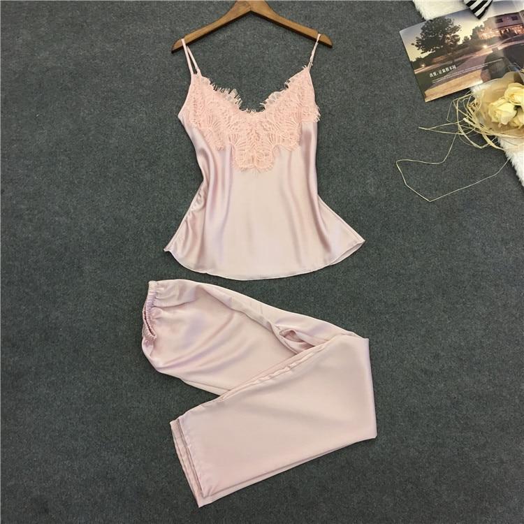 Sexy Lace Women Pajama Set Spaghetti Strap Nightgown+Long Pant Set Casual Women Pijama