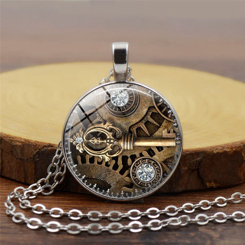 Fashion Crystal Key Heart Anchor Pendant Beaded Chain Steampunk Necklace Vintage Steam Punk Costume Jewelry For Women jewelry heart