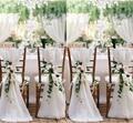 30 Pieces Ruffled Chair Sashes 50*150cm Chiffon Chair Sash Wedding Decoration Chair Hood White Chair Sash Ruffle Wedding Favors