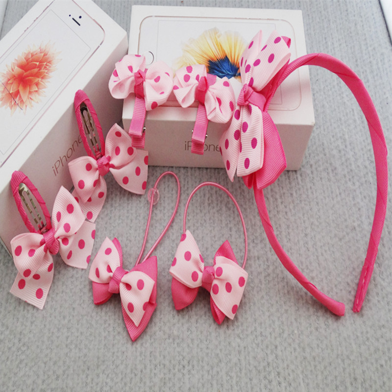 7pcs/Set Dot Bow Girls Headwear Baby Hair Claw Hairpins/Hairbands/Elastic Hair Bands Hair Clips Kids Baby Hair Accessories