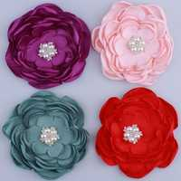 50 ชิ้น 9.2 เซนติเมตรซาตินผ้าเผาดอกไม้ Rhinestone เพิร์ลสำหรับอุปกรณ์เสริมผมดอกไม้ชีฟองสำหรับ Headbands เสื้อผ้า