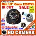 Muito pequeno 1/3 cmos 1200TVL Mini Indoor Dome Segurança Cctv Hd pequena Câmera IRcut 12LED Night Vision Infrared 20 m casa cor vídeo