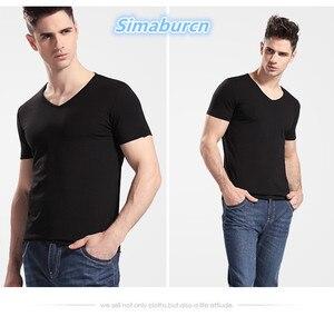 Мужская хлопковая футболка с коротким рукавом и v-образным вырезом, высокое качество, лето 2018, повседневные брендовые рубашки, однотонные мужские Топы И Футболки