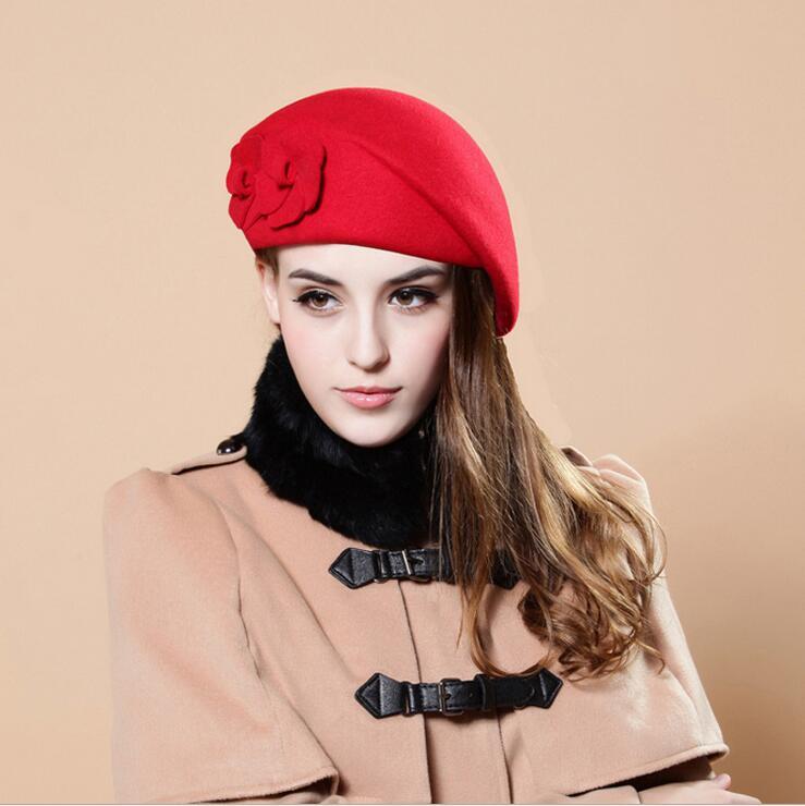 0d40735b93f560 100% wool beret winter berets women winter felt beret Floral Women Felt  French Beret Beanie fedora hat Beanie Winter Flower ~ Free Delivery July  2019