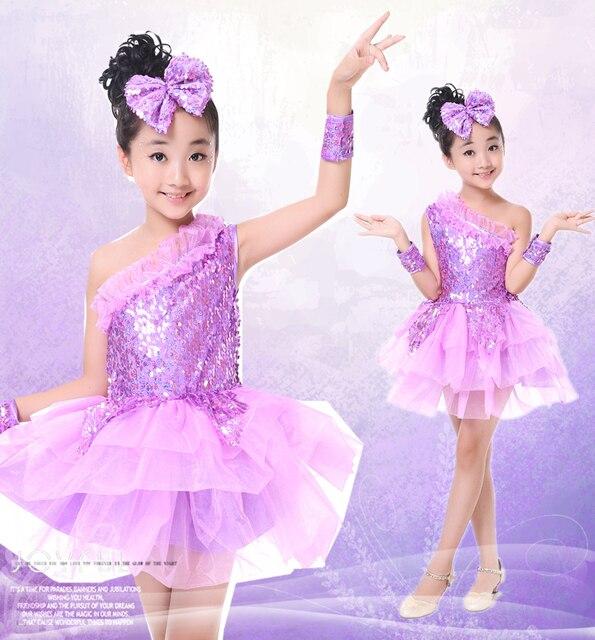 Jazz Vestidos para Niñas púrpura hip hop danza moderna rendimiento trajes  niños Lentejuelas princesa tutú Salón f1e279e14fc