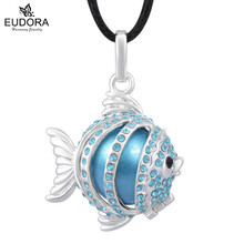 Ángel pescado Musical azul Chaton checo decorado armonía Bola colgante de la Bola collar carillón Bola colgante madre a-ser la joyería identificador de llamadas