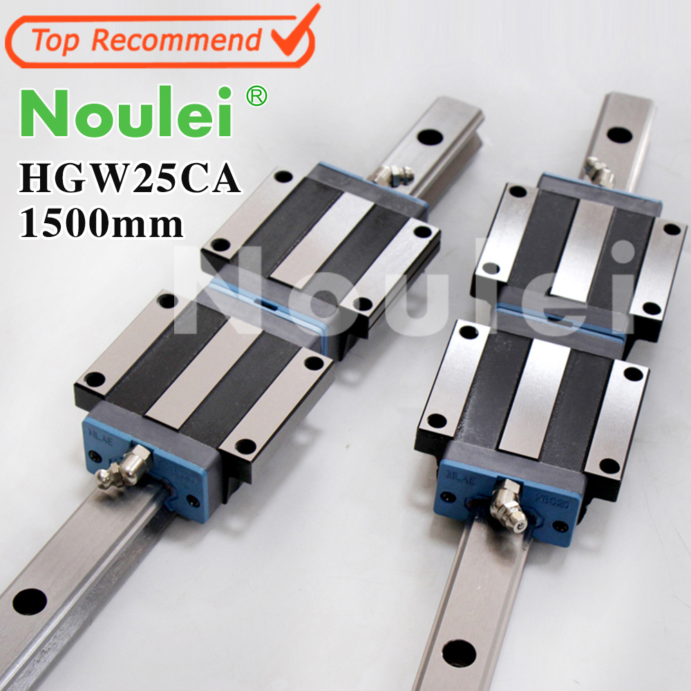 цена на Noulei HGW25CA linear motion slide blocks with HG25 1500mm guide rail for CNC DIY kit set High quality SELF-OWNED BRAND