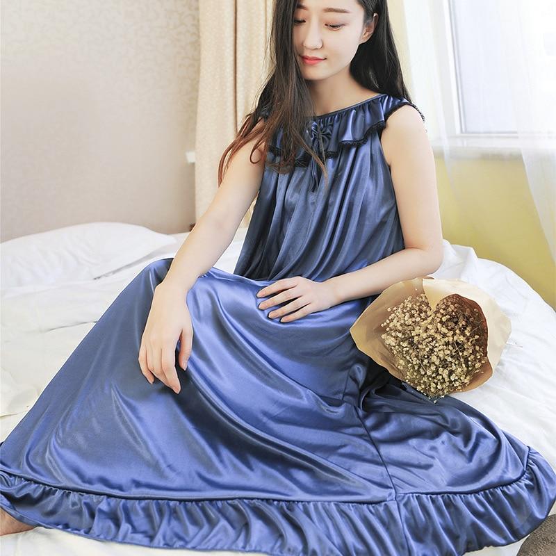 Sexy Silk Stain Bow Ruffle Sleeveless Women's Long Nightgowns Loose Woman Night Dress Spring Summer Female Nightwear Sleepshirt