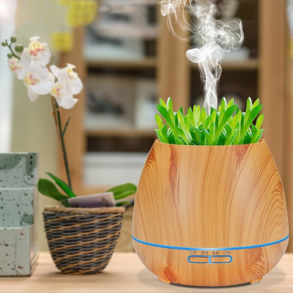 550ml Wifi Electric Aroma Air Diffuser Wood Grain Ultrasonic Air Humidifier Essential Oil Aromatherapy Cool Mist Maker For Home
