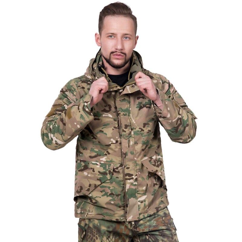 US armée tactique coupe-vent veste hommes imperméable militaire Camouflage champ veste hiver thermique épais sweat à capuche molletonné polaire manteau