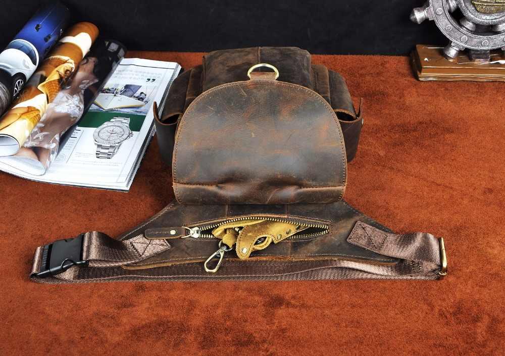 Chất lượng Con Ngựa Điên Người Đàn Ông Da Thiết Kế Túi Messenger Giản Dị Túi Thời Trang Đa Chức Năng Du Lịch Vành Đai Thắt Lưng Gói Drop Leg Túi Nam 9938