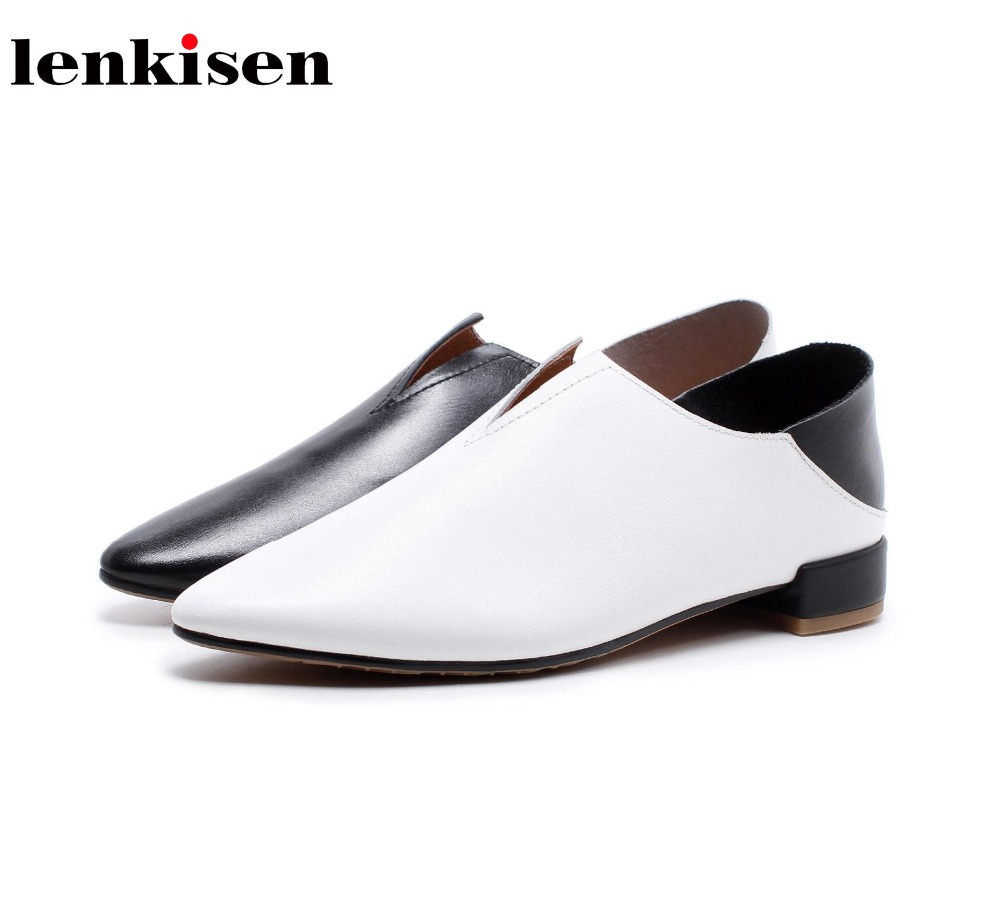 Lenkisen 2018 spring new arrival neutral pointed toe slip on leather shoes shallow runway elegant office lady women pumps L12 new genuine leather superstar solid thick heel zipper gladiator women pumps pointed toe office lady nude runway casual shoes l88