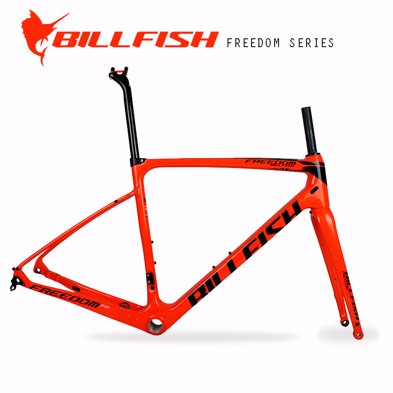 BILLFISH rack fender usable full Carbon gravel Bike Frame set flat Disc brake design Size 54cm cyclocross axle thru road Frame 2017 flat mount disc carbon road frames carbon frameset bb86 bsa frame thru axle front and rear dual purpose carbon frame
