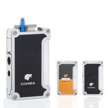 COHIBA Smoking Gadget Refillable Butane Gas Jet Cigarette Lighters 1 Torch Cigar Lighter Windproof With Punch