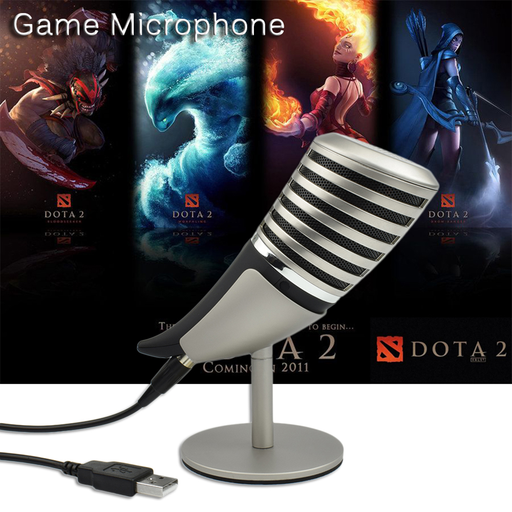 Professional Game Condenser microphone for computer phone 3.5mm / USB microphone Computer meeting Three pickup modes Metal stent superlux ecm999 ecm 999 highly reliable professional measument microphone condenser testing microphone