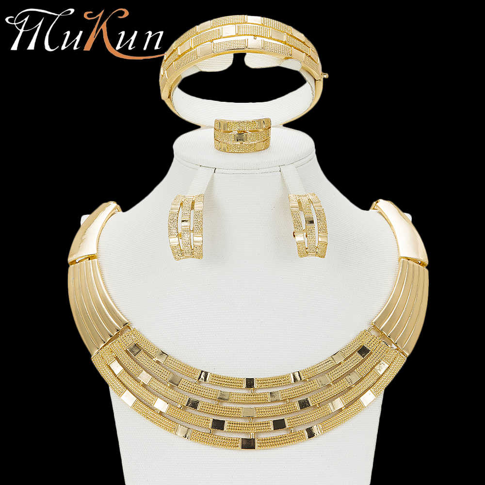MuKun 2018 Dubai Jewelry Set For Women wedding jewelry fashion nigerian beads necklace jewelry set costume jewelry accessories