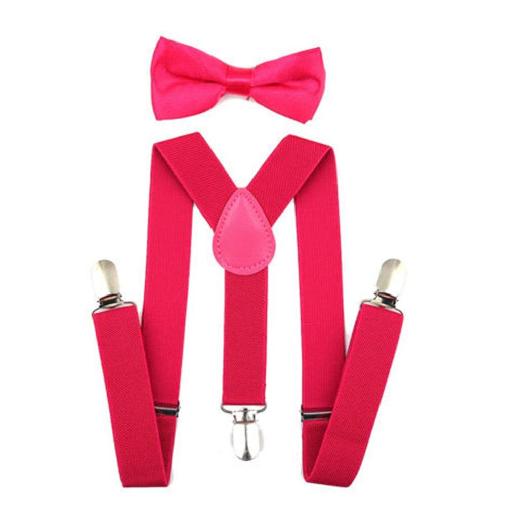 Регулируемая мода мальчиков хлопчатобумажный галстук вечерние галстуки подарок высокое качество для маленьких мальчиков малышей бабочка галстук-бабочка+ на подтяжках комплект одноцветное Цвет - Цвет: Rose red