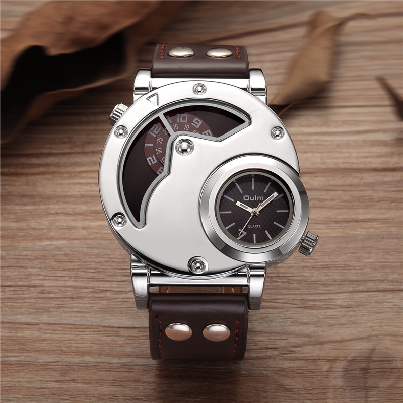 Oulm Watch Man Quartz Watches Top Brand Luxury Silver Case PU Leather Military Sport Wristwatch Two Time Zone Male Clock