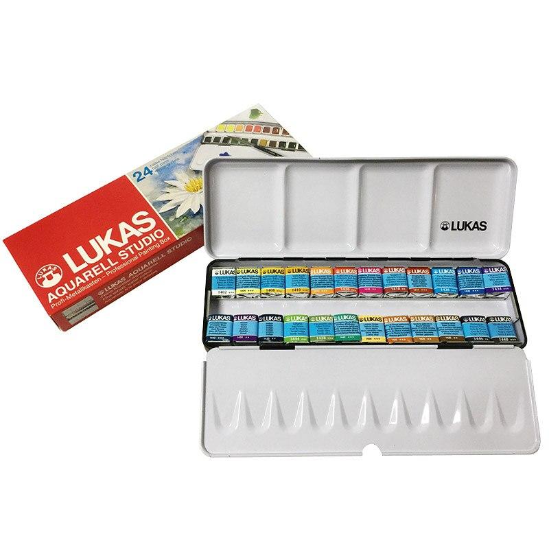 Paquet importé Original allemagne 24 couleurs solide aquarelle peintures Transparent aquarelle croquis Portable