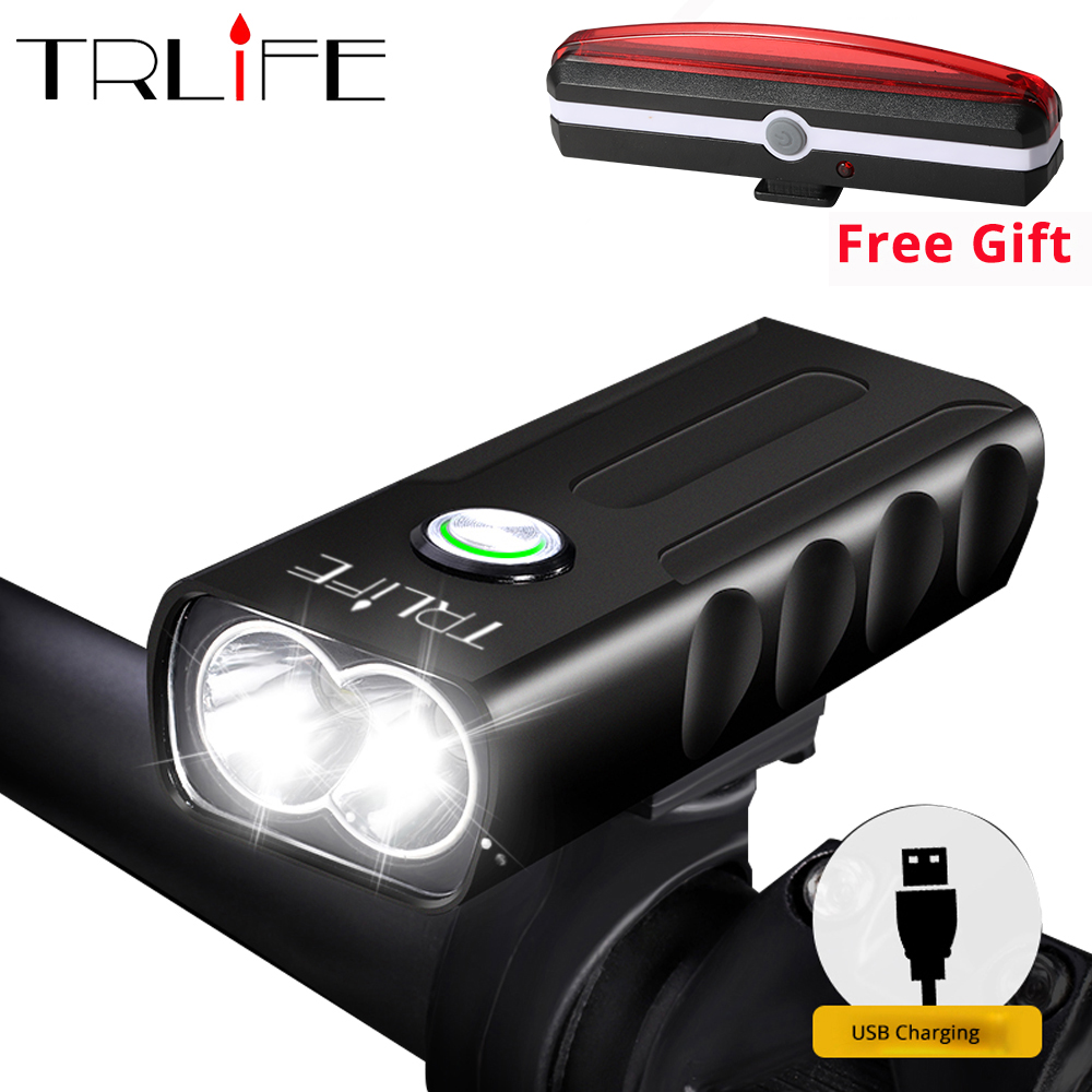 10000LM 2*2/T6 USB Rechargeable Built-In Battery Bicycle Light Waterproof Headlight Bike Accessories Send Gift Taillight