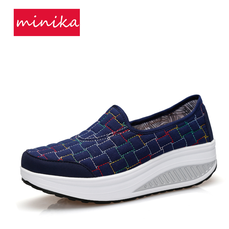 Canvas Women Toning Shoes Autumn Lattice Thick Soles Women Swing Shoes Platform Height Increasing Slimming Loss Weight Sneakers e toy word canvas shoes women han edition 2017 spring cowboy increased thick soles casual shoes female side zip jeans blue 35 40