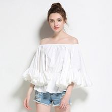 Runway Off Shoulder Blouse Women Beading Slash Neck Flare Sleeves Solid 2 Colors Tops Sexy Style New Fashion 2017