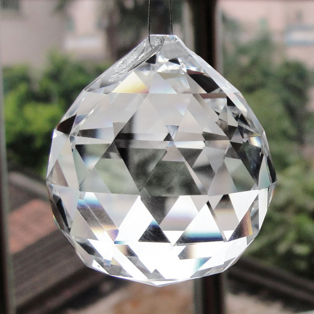 30/40/50mm Faceted Glass Crystal Chandelier Parts Pendant Prisms Lighting Ball Clear Suncatcher Christmas Decoration Crafts B4