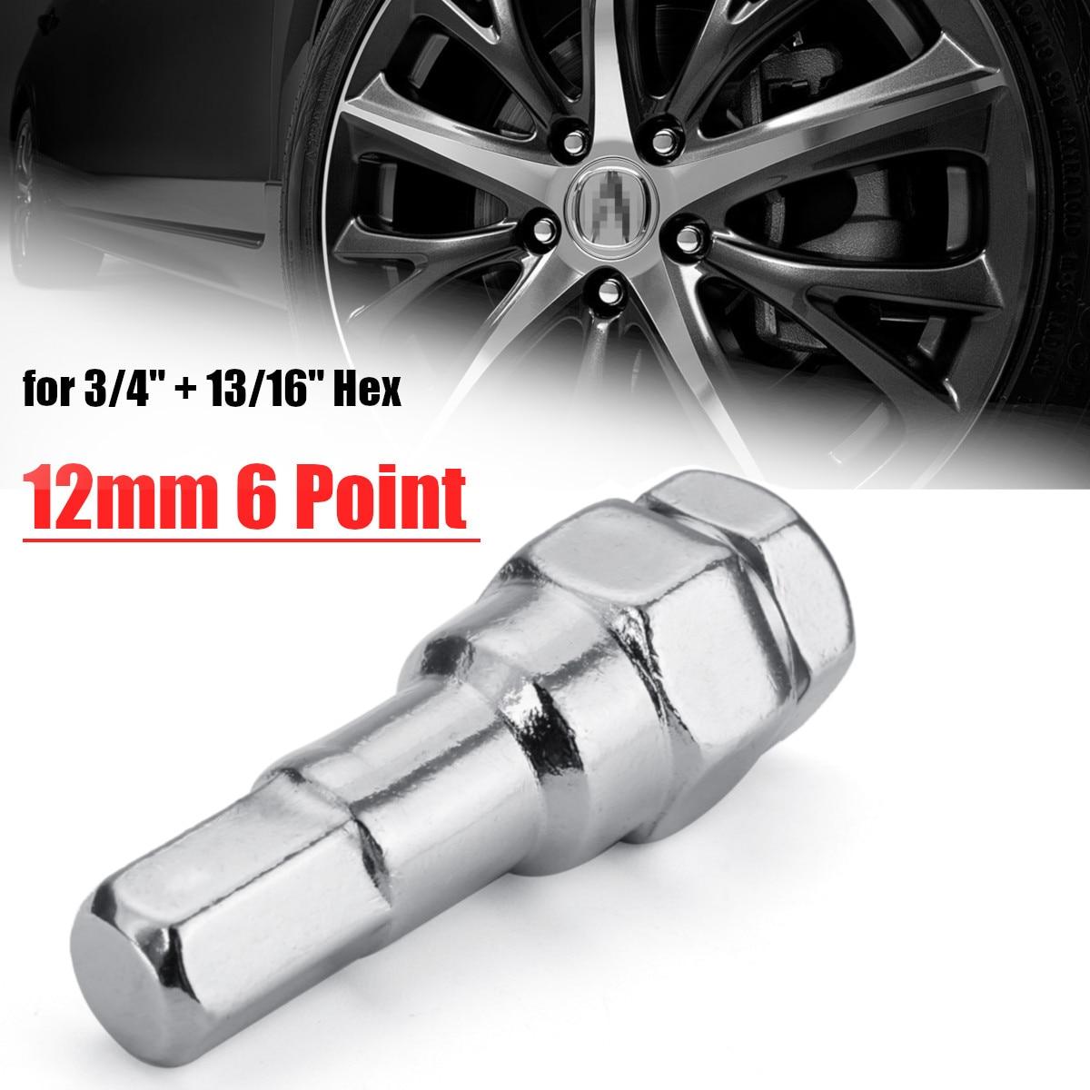 62mm 6 Point Spline Sided 12mm Hex Key Tuner Wheel Lug Nut Tool Socket Adapter Wrench