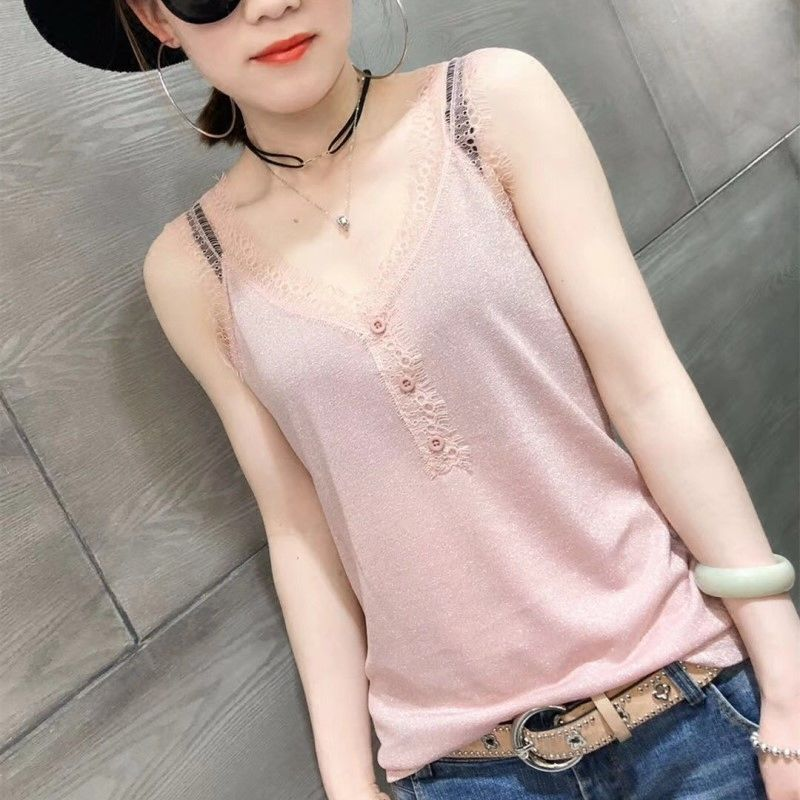 women clothing women T shirts women tees sleeveless v-neck t shirts sexy tees knitted european clothing high elastic 5