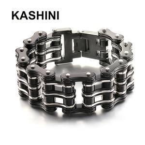 Image 1 - Motorcycle chain bracelet black mens titanium steel bicycle chain bracelet punk three layer stainless steel bicycle bracelet
