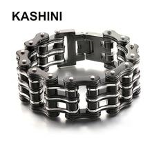 Pulsera de cadena de motocicleta para hombre, brazalete de cadena de bicicleta de acero y titanio negro, pulsera punk de tres capas para bicicleta de acero inoxidable