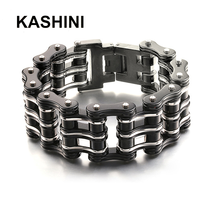 Punk Big Stainless Steel Bicycle Chain Purple Black Bracelets & Bangles Motorcycle Chain Bracelet Men Biker Jewelry Wholesale-in Chain & Link Bracelets from Jewelry & Accessories