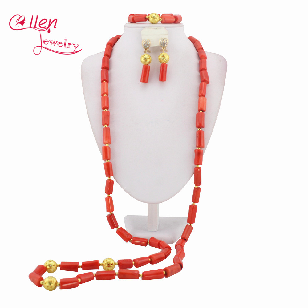 High Quality African Nigerian Wedding Beads Coral Jewelry Sets,African Beads Coral Necklace Bracelet Earrings Sets   WS1245