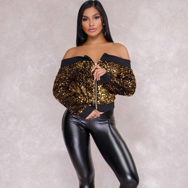 cf92cb6a83148 2018 Streetwear autumn sequin bomber jackets long Sleeve baseball Outwear  off shoulder feminina winter fashion women basic coats