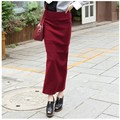 2016 autumn and winter after the split long skirts high pockets hip was thin knit wool skirt long skirts big yards female