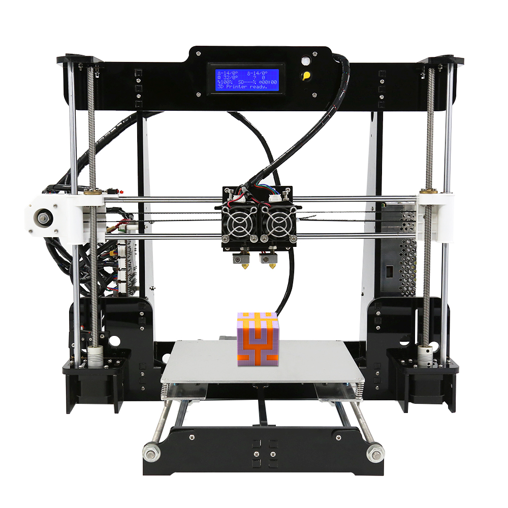 Dual Extruder Prusa i3 3D Printers Acrylic Frame Upgrade Anet A8M DIY Desktop Pulley Linear 3D Printer with PLA or ABS Filament