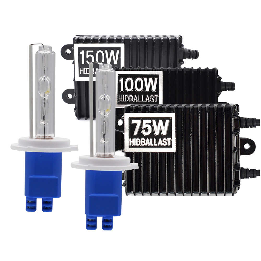 High Power 12V 75W 100W 150W Ballast HID Xenon Kit H7 H11 H3 HB3 HB4 D2H H1 Xenon Bulb 3000K 4300K 5000K 6000K Car Headlight Kit