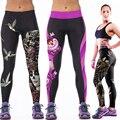 2016 Novas Mulheres Da Moda Calças de Cintura Alta Calças de Fitness 3D Impresso Estiramento Leggings de Fitness