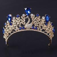 Magnificent Blue Rhinestone Peacock Bridal Crown Tiaras Fashion Gold Crystal Diadem for Women   Wedding     Hair     Jewelry   Accessories