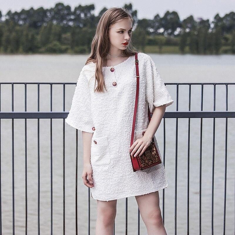 새로운 유럽과 미국의 패션 버튼 라운드 칼라 드레스 여성과 성격 스트레이트 e0886-에서드레스부터 여성 의류 의  그룹 1