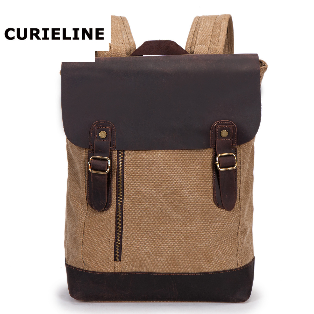 CURIELINE leather rucksack multi function mens travelling bag student leather computer backpackCURIELINE leather rucksack multi function mens travelling bag student leather computer backpack