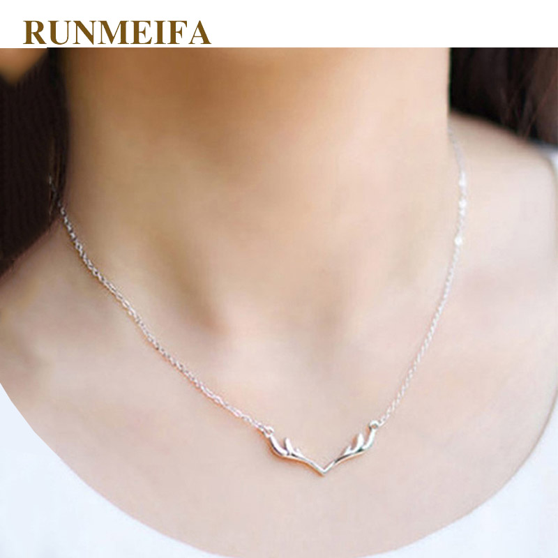 RUNMEIFA New Fashion Christmas Silver Alloy Necklace For Women Reindeer Horn Pendant Necklaces Femme Romantic Link Chain Torque