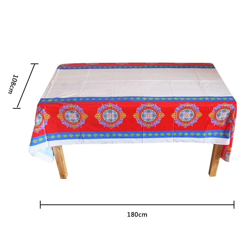 Disposable Plastic Table Cloths Eid Mubarak Ramadan Table Cover Tablecloth Waterproof For Moslem Islamism Decoration 180*108cm40