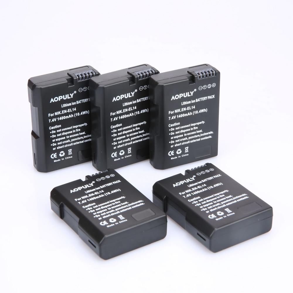 5 Pcs EN-EL14 ENEL14 EN EL14 1400 mAh Batterie pour Nikon D90 D300 D5300 D5200 D5100 D3300 D3200 D3100 pour COOLPIX P7100 P7200 P7700