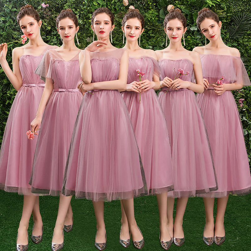 Dress Elegant Wedding Guest Party Bridesmaid Maid Of Honor Dresses Sexy A-Line Junior Women Ladies Pink Graduation Prom Vestido