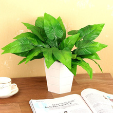 1PCS Artificial Flowers With Leaf Green Grass Plastic Plants Fake Leaf Foliage Bush For Home Wedding Party Decoration цена