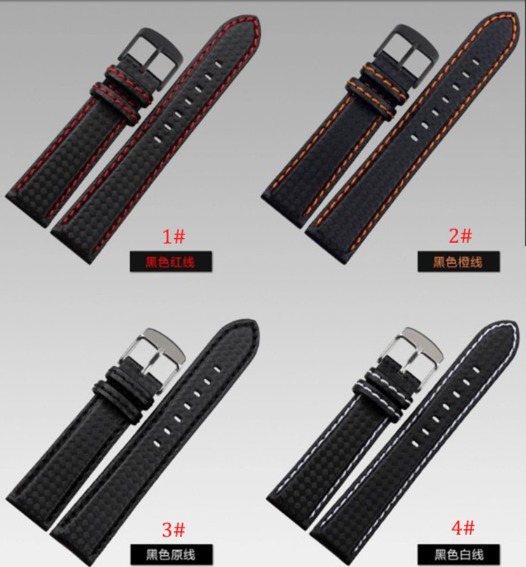 Wholesale Watchband straps Carbon Fiber strap with red stitched line Band light soft sport watch straps18mm 20mm 22mm 24mm maleWholesale Watchband straps Carbon Fiber strap with red stitched line Band light soft sport watch straps18mm 20mm 22mm 24mm male