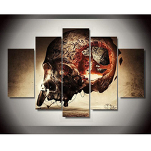 Large Canvas Framework Painting For Bedroom Living Room Home 5 PiecesSet Skull Printed Modular Picture HD Wall Art Decor